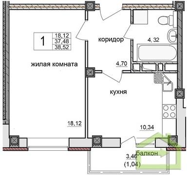 Однокомнатная на ул. Зелёная в центре Дубового - Фото 2