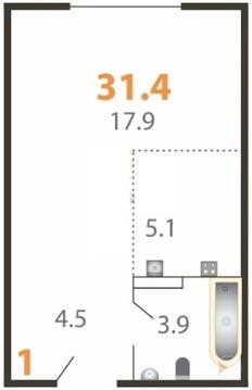 Студия, 31,4м, 4/5 эт, Большие Жеребцы, мкр. Восточный к3 - Фото 1