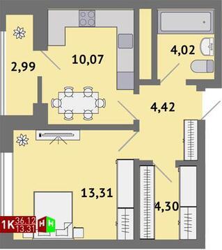 Продажа однокомнатная квартира 36.12м2 в ЖК Солнечный гп-1, секция б - Фото 1