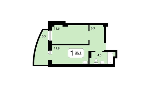 1 комнатная квартира Ж\К Ярослав - Фото 1