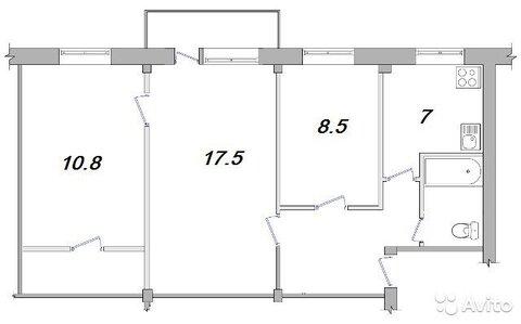 3-к квартира, 54.3 м, 2/5 эт. - Фото 2