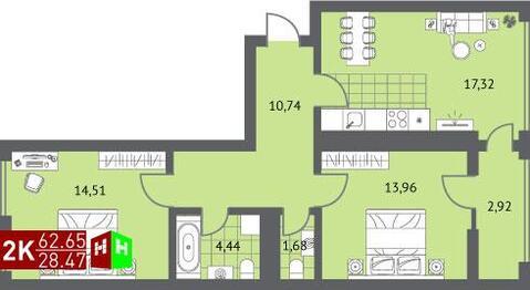 Продажа двухкомнатная квартира 62.65м2 в ЖК Суходольский квартал гп-1, . - Фото 1