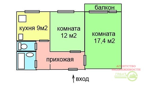 """2-х комнатная квартира 51 м2 в районе тк """"Солнечный"""" - Фото 2"""