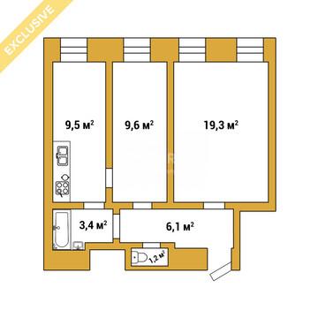 Обводного канала наб, 51, 3 эт, 2 к.кв. 49 м, Продажа квартир в Санкт-Петербурге, ID объекта - 318482731 - Фото 1