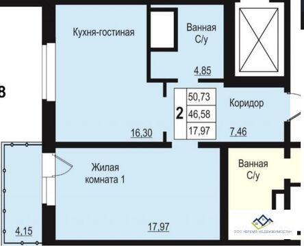 Продам 2-тную квартиру Бр.Кашириных 131а, 15 эт, 54 кв.м. - Фото 2