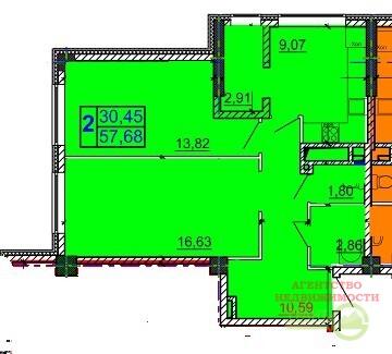 Новостройка, 2-комнатная квартира 57,73 - Фото 2