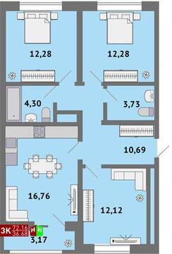 Продажа трехкомнатная квартира 72.16м2 в ЖК Солнечный гп-1, секция д - Фото 1
