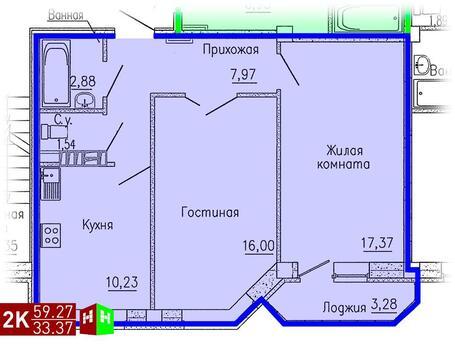 Продажа двухкомнатная квартира 59.27м2 в ЖК Кольцовский дворик дом 4. . - Фото 1