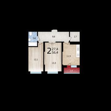 Двухкомнатная квартира в ЖК Уфимский кремль - Фото 1