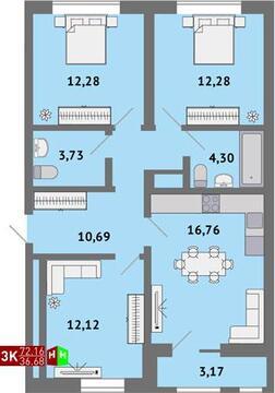 3 740 000 Руб., Продажа трехкомнатная квартира 72.16м2 в ЖК Солнечный гп-1, секция б, Купить квартиру в Екатеринбурге по недорогой цене, ID объекта - 315127798 - Фото 1