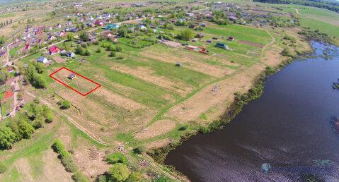 Оформленный участок 14 соток с строением у водоёма в деревне Курьяново - Фото 1