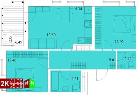 Продажа двухкомнатная квартира 61.30м2 в ЖК Квартал Новаторов секция г - Фото 1