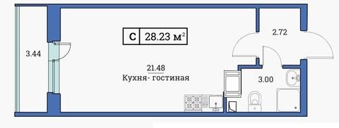 Студия 28,23 м2 в жилом комплексе Цвета радуги 3 оч. корп. 3 - Фото 2