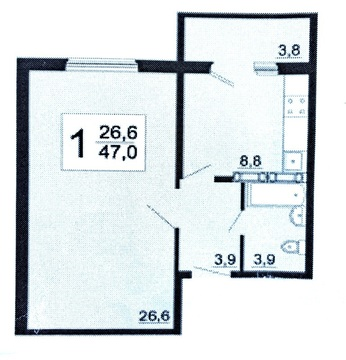 Продается 1-комнатная квартира по ул. Олимпийская, 8. Город «Спутник» - Фото 4