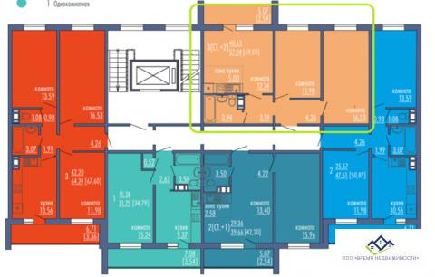 Продам 2-тную квартиру Краснопольский пр14, 2эт, 59 кв.м.Цена 2200 т.р - Фото 2