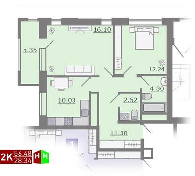 Продажа двухкомнатная квартира 56.48м2 в ЖК Каменный ручей гп-4 - Фото 1