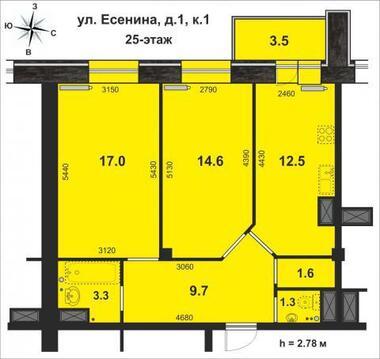 Видовая 2-комн.кв. 63.5м, 25/25-эт. кирп. дома, панорама на город - Фото 4