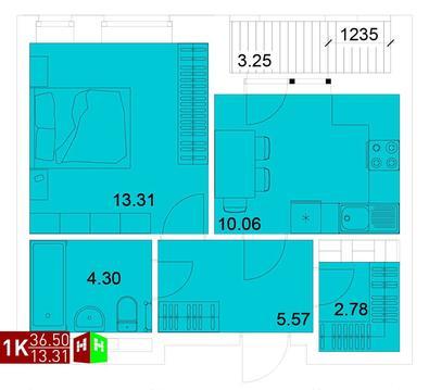 Продажа однокомнатная квартира 36.50м2 в ЖК Квартал Новаторов секция а - Фото 1