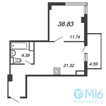 Продажа 1-комнатной квартиры, 38.83 м2 - Фото 2