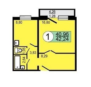 Продам 1-комн ул.Весенняя 8, площадью 42 кв.м, на 4 этаже