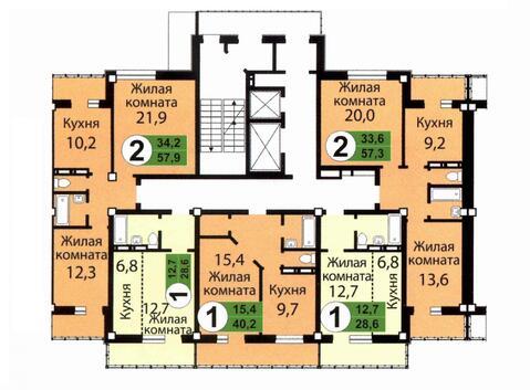 Продам 2-комн в новостройке площадью 57,9 кв.м, на 8 этаже