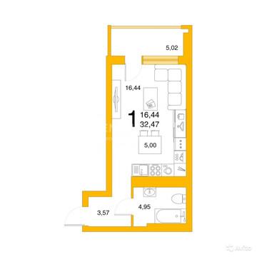 """1 550 000 Руб., 1-к квартира, 32.5 м, 5/25 эт. ЖК """"Авиатор""""., Продажа квартир в Уфе, ID объекта - 330565539 - Фото 1"""