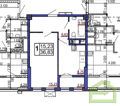 Однокомнатная квартира 37 кв.м. в новом доме на Щорса, 8м, Водстрой - Фото 2