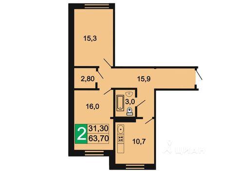 2-комн. квартира, 63,7 м2 - Фото 1