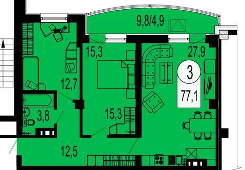 Продажа квартиры, Красноярск, Микрорайон Белые Росы - Фото 3