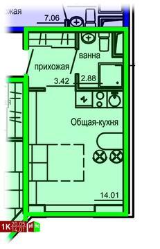1 804 500 Руб., Продажа однокомнатные апартаменты 20.05м2 в Апарт-отель Юмашева 6, Купить квартиру в Екатеринбурге по недорогой цене, ID объекта - 315127767 - Фото 1