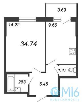 Продажа 1-комнатной квартиры, 34.74 м2 - Фото 2