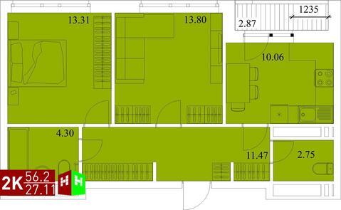 Продажа двухкомнатная квартира 56.2м2 в ЖК Квартал Новаторов секция ж, Купить квартиру в Екатеринбурге по недорогой цене, ID объекта - 315127578 - Фото 1