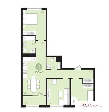 Продам 3-к квартиру, Сапроново, жилой комплекс Первый Квартал - Фото 3
