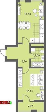 3 120 000 Руб., Продажа однокомнатная квартира 44.41м2 в ЖК Суходольский квартал гп-1, ., Купить квартиру в Екатеринбурге по недорогой цене, ID объекта - 315127722 - Фото 1