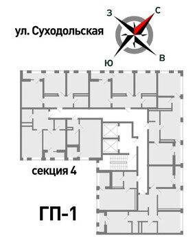Продажа двухкомнатная квартира 52.46м2 в ЖК Суходольский квартал гп-1, . - Фото 2