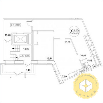 2к квартира 75,8 кв.м. Звенигород, Фрунзе 29, ЖК Малиновый ручей - 2 - Фото 2