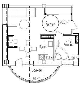 Однокомнатная квартира в центре города - Фото 1