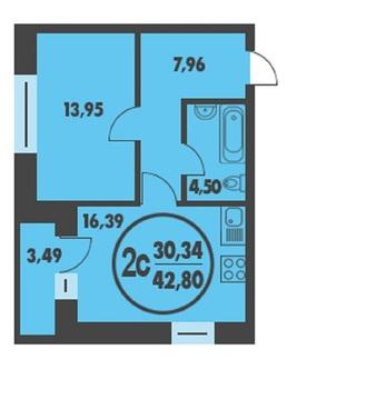 1 комнатная квартира в кирпичном доме, ул. Харьковская, д. 66 - Фото 1
