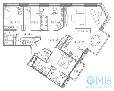Продажа 4-комнатной квартиры, 135.48 м2 - Фото 1