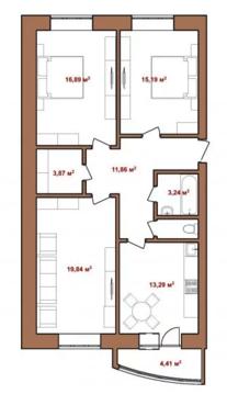 """3-х комнатная квартира в новом кирпичном доме. ЖК Северная Пальмира"""" - Фото 3"""