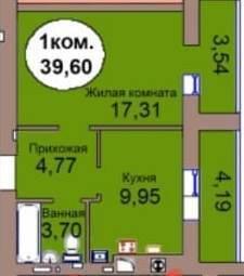 1-комнатная квартира Васильково п. Калининградский пер. - Фото 4
