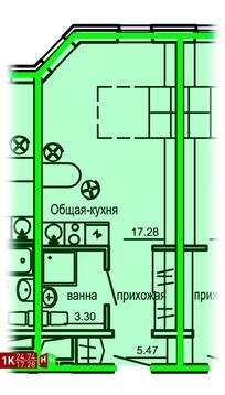 Продажа однокомнатные апартаменты 24.74м2 в Апарт-отель Юмашева 6 - Фото 1