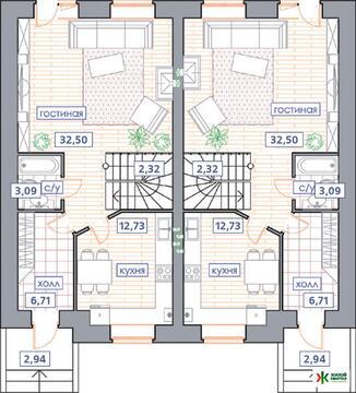 """2-этажный таунхаус проект """"Виктория"""" 117 м2 (Зубово Лайф) - Фото 3"""