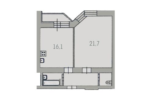 1-к квартира 48,2 кв.м. 5/10, ул. Крылова, 27 напротив Центарльного. - Фото 2