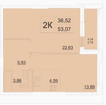 2х комнатная квартира, S=53,07, № 436 в ЖК Столичный - Фото 4