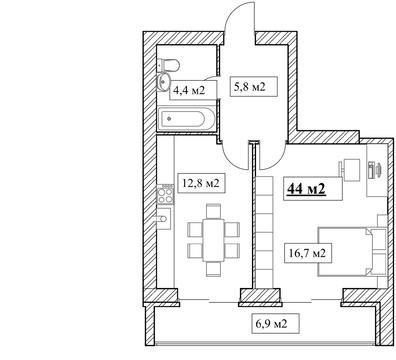 Продам 1-комнатную квартиру, 44м2, ЖК Прованс, фрунзенский р-н - Фото 5