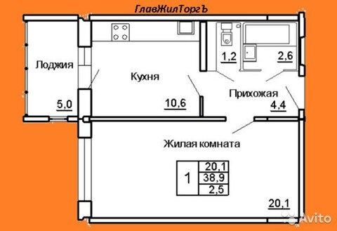 1-к квартира, 38 м, 4/9 эт. - Фото 1