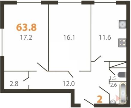 2-к квартира, 63,8 м, 3/5 эт. Большие Жеребцы, мкр. Восточный к2 - Фото 1