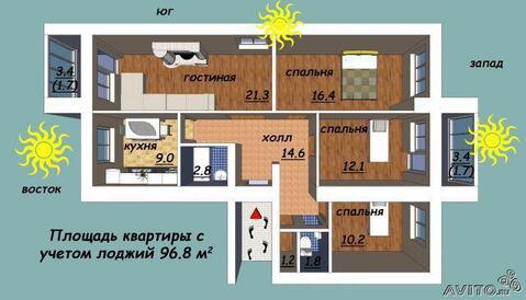 4-х комнатная квартира 100 кв.м. Центр ( Чехова ) - Фото 5