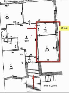Сдаётся офисное пом. в БЦ. 1й этаж, рядом с ц. выходом. 35кв.м. - Фото 2